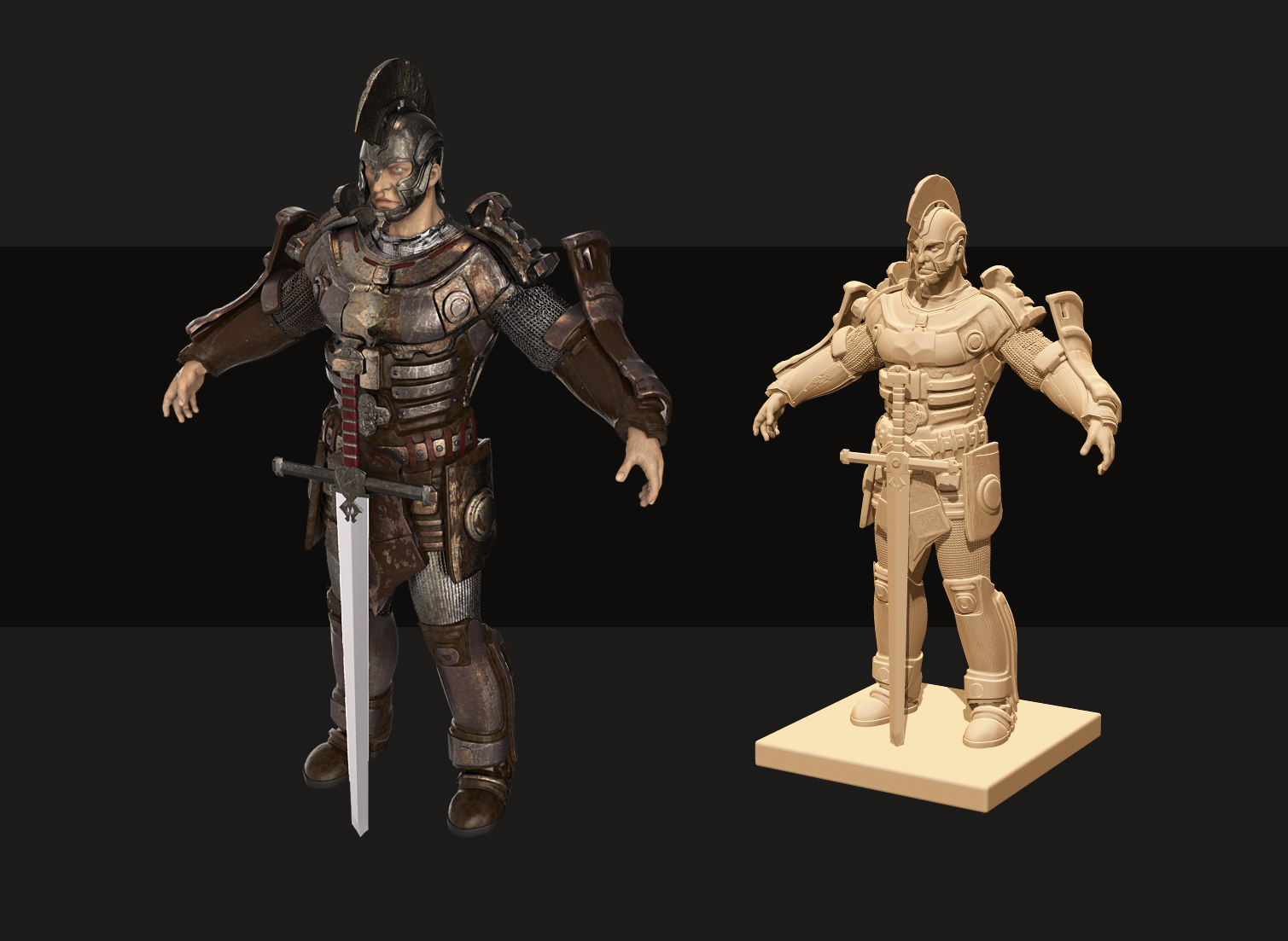 Warrior 3D model - high poly