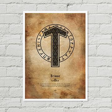 Tiwaz Rune Poster